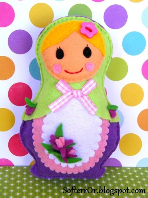 Felt Russian Dolls Lavender