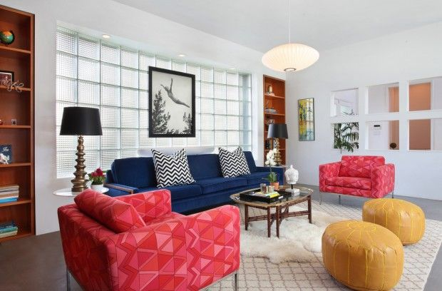 Vanessa De Vargas design -- modern all the while bursting with fun and funky elements - Vanessa went playful with colors and patterns, and added touches of green, yellow, pink and striking zig zag patterns to liven up the very modern home..