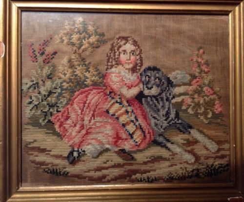 Antique 19th C Needlepoint Stitched of Girl w Dog C 1850's Framed | eBay
