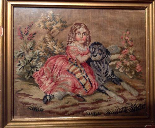 Antique 19th C Needlepoint Stitched of Girl w Dog C 1850's Framed | eBay