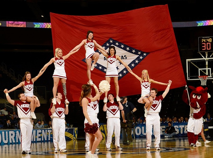 Arkansas cheerleaders at SEC Women's Basketball ...