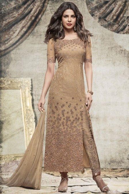 Beige Party Wear Priyanka Churidar Net Designer Salwar Suit