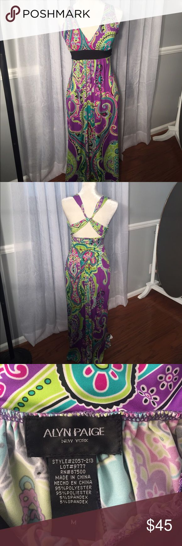 Gorgeous maxi dress. This maxi dress has it all color ,slimming waist , beautiful back, comfortable built in bra- yea! Accentuate your assets. Alyn Paige Dresses Maxi