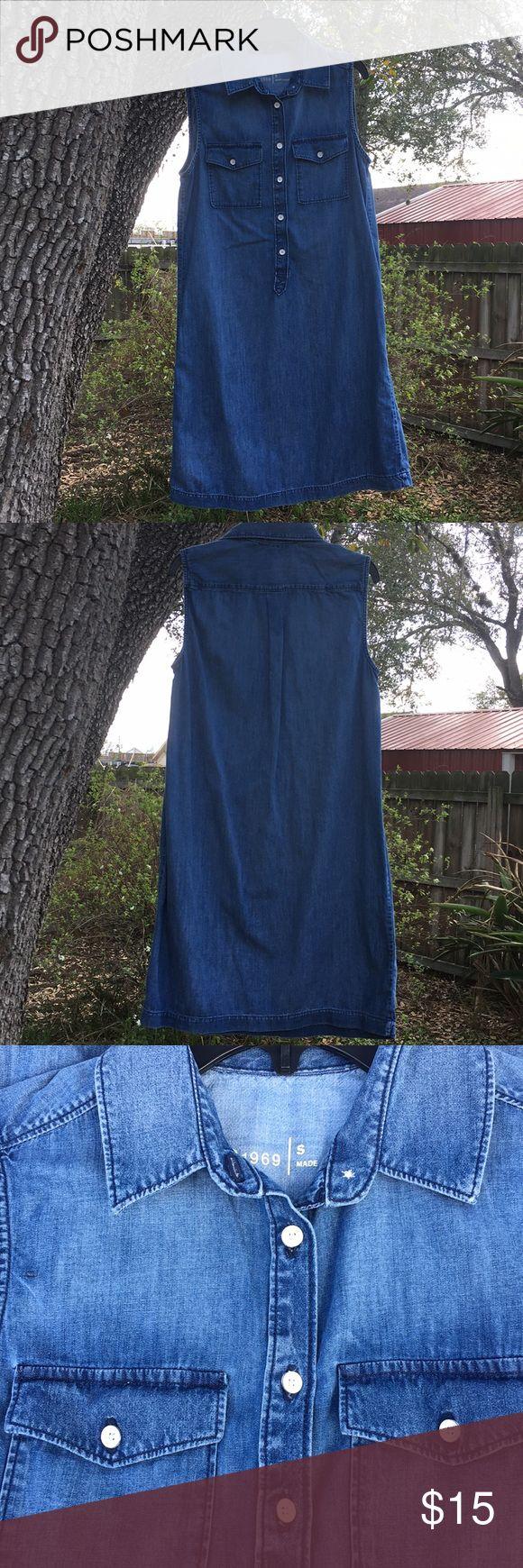 Sleeveless Denim shirt dress Gap shirt dress Size Small In excellent condition  3/4 button down Sleeveless GAP Dresses