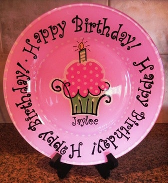 Happy Birthday Hand Painted Plate - Customized and Made to Order & The 37 best diy baby gifts images on Pinterest | Diy baby gifts ...