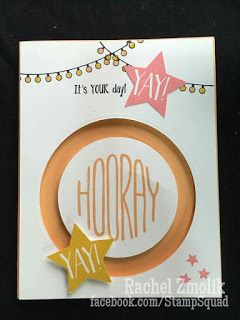 Hooray! Yay! It's your day! Fun spinner card featuring Confetti Celebration stamp set and the medium star punch, using new Stampin' Up 2016 In Colors Peekaboo Peach and Flirty Flamingo. Design by ScrappyZ