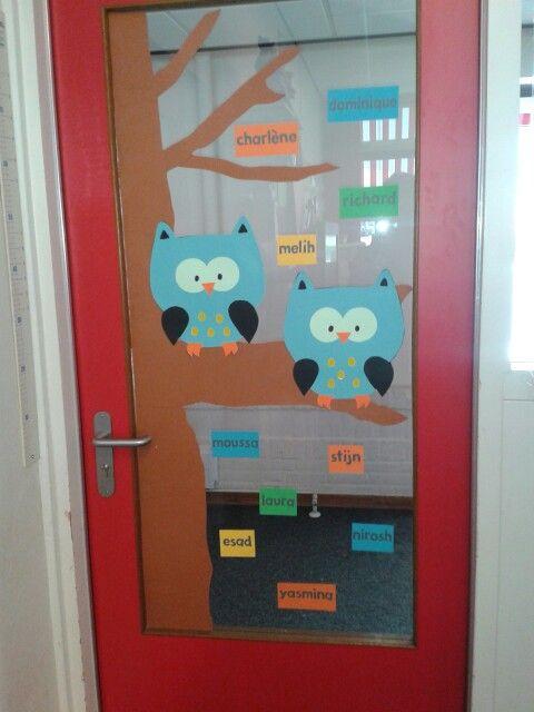 Leuk idee: versierde deur Deur voor begin schooljaar (door juftal)
