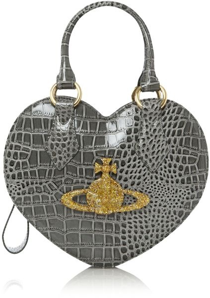 VIVIENNE WESTWOOD ENGLAND Chancery Patent Croc Heart Across Body Bag