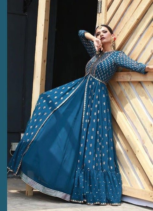 Beautiful Silk Jacket Style Dress Anarkali Gown Embellished With