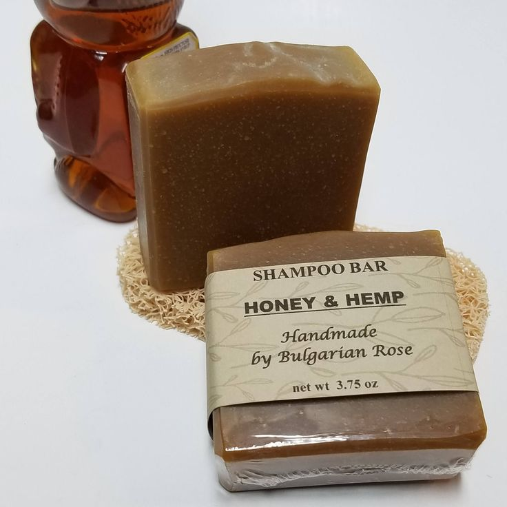 Honey & Hemp Shampoo Bar, Handmade, Palm Free, Natural, Gifts for Her, Gifts for Him, 3.75 oz by BulgarianRoseShoppe on Etsy