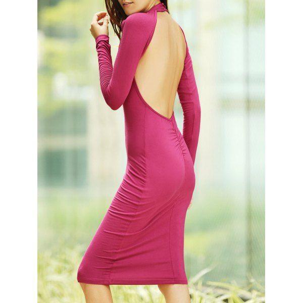 Trendy Women's Long Sleeve Open Back Black Knee-Length Dress #jewelry, #women, #men, #hats, #watches