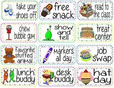 Free reward ideas!! Good for student of the month awards.