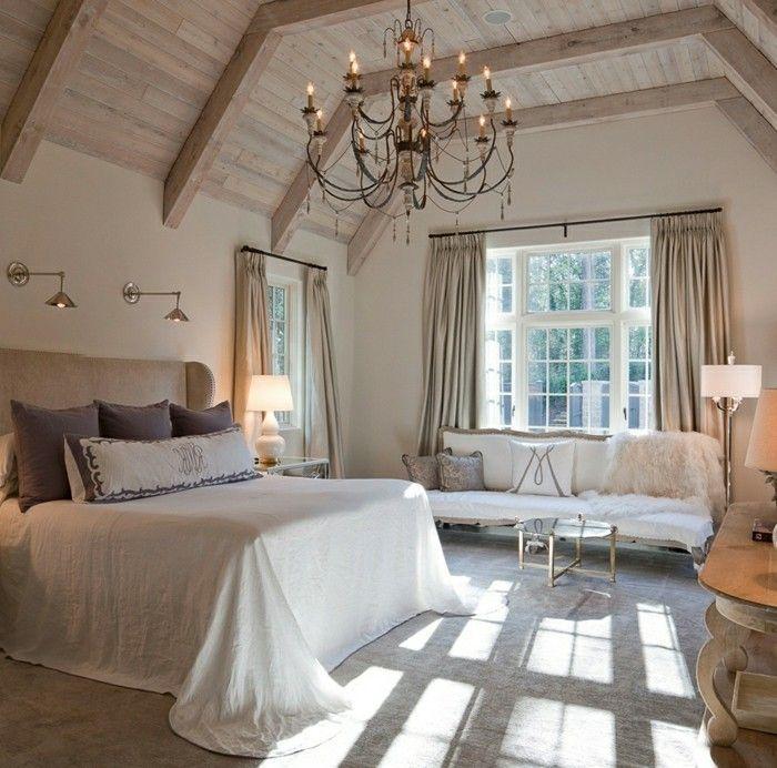Farbgestaltung Schlafzimmer Mit Dachschräge: Schlafzimmer Dachschräge Holzbalken Und Schöner