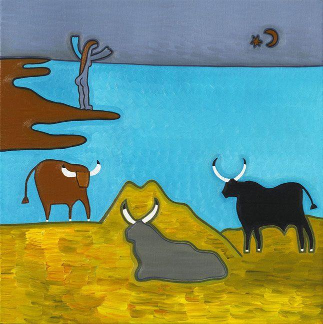 Bœufs d'Italie (d'après Corot), 2012. Oil on linen, 56 x 56 cm. Exhibition: De los Alpes a los Andes. #painting #oilpainting #finearts #contemporaryart #cristinarodriguez