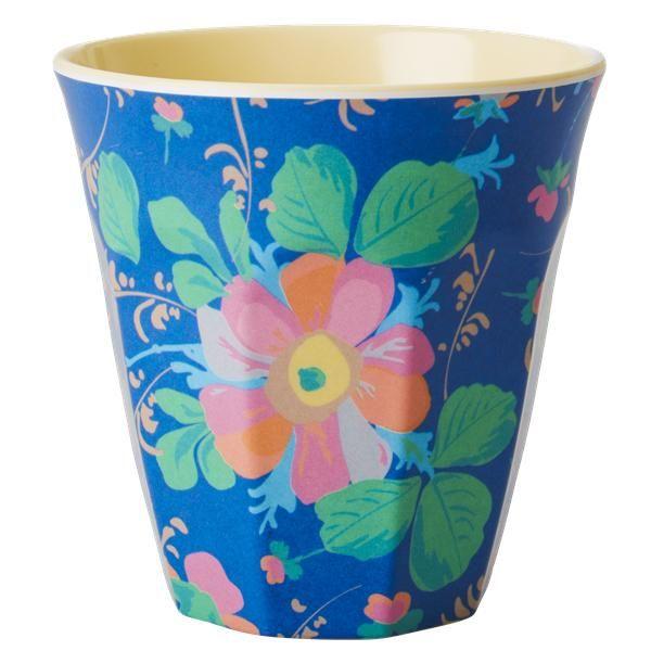 Melamine cup - Blue Bold Flower Print Retro Baby Clothes - Baby Boy clothes - Danish Baby Clothes - Smafolk - Toddler clothing - Baby Clothing - Baby clothes Online
