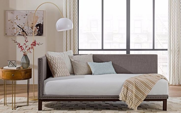 Upholstered nail head trim. Mattress, box spring, and bedding (comforter, sheets, pillows, etc.) Are not included. Classic 18th century modern design. Soft grey linen fabric upholstery. Finish: Grey Finish.   eBay!