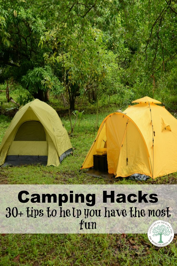 """Here are some of my favorite tried and true camping hacks, along with some great tips from friends of mine to help you get the most fun from your time in the """"wild"""". The Homesteading Hippy"""