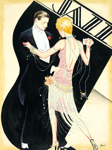 This lithographic art print is based on a drawing entitled Jazz by Karen Dupré. The artist is noted for their art deco works.