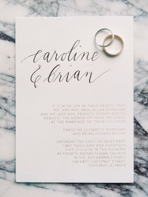 lovely simple letterpress and hand-lettered wedding invitation