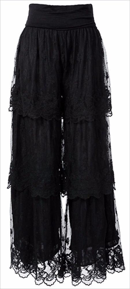 woman pants 2X plus size Dress Pants Black Gypsy Boho Lace Lined elastic waist  #scc #DressPants