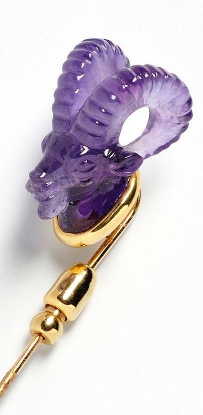 Carved Amethyst Stickpin, designed as a ram's head, gold mount.