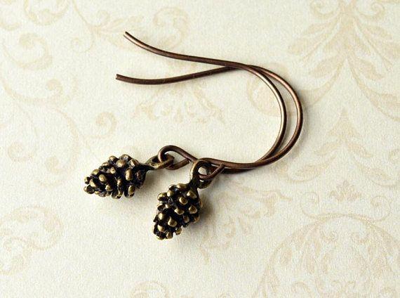 Pinecone Dangle Earrings  Gift for Her  Boho Earrings #Jewellery  #Earrings  #Pinecones #GiftforHer  #Autumn