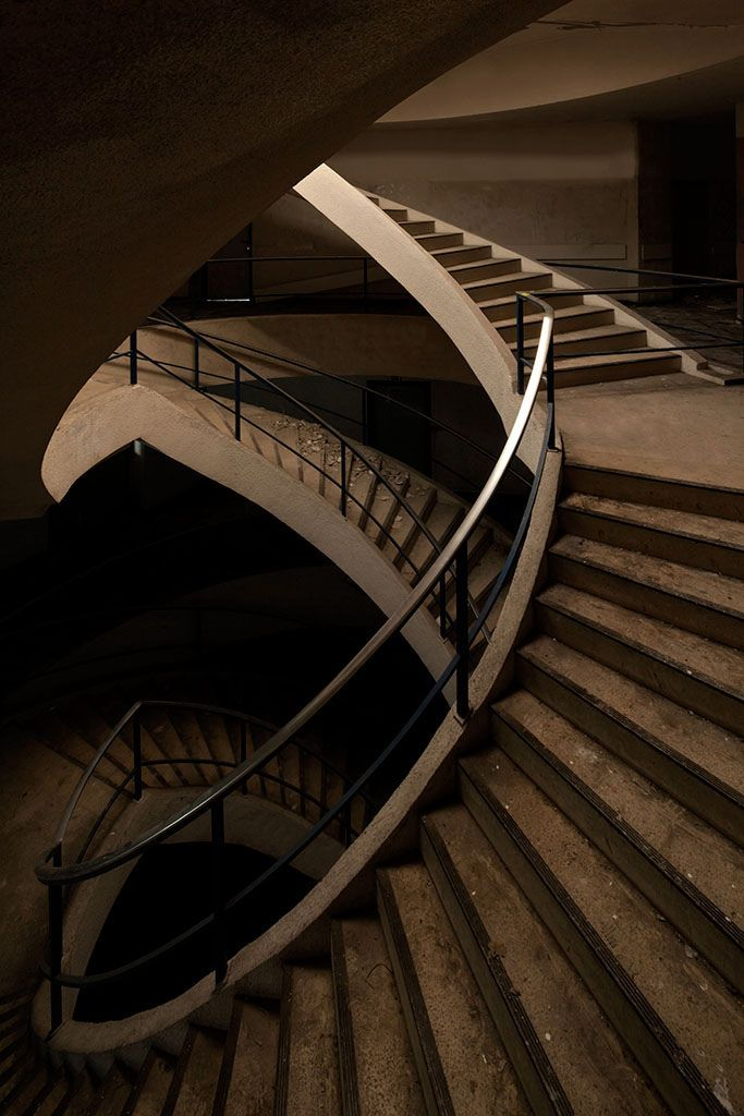 1000 images about abandoned on pinterest the abandoned for Double curved staircase