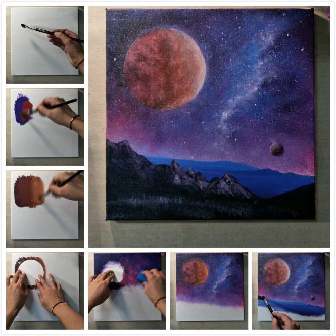 Космический пейзаж. Поэтапный урок рисования для детей 14 ...