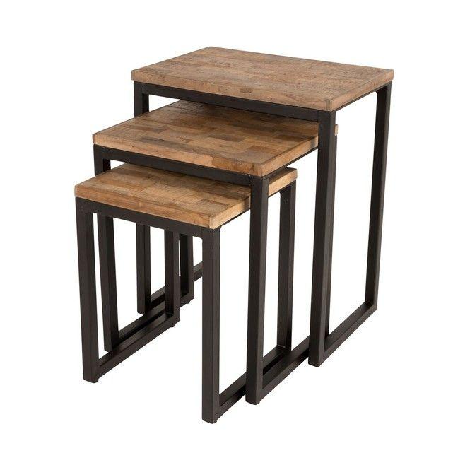 Suri 3 Tables Gigognes En Teck Recycle Tables Gigognes Table