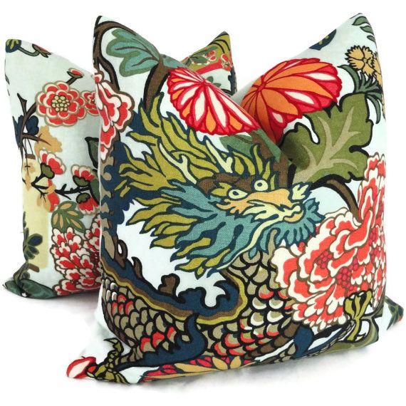pair of aquamarine schumacher chiang mai dragon decorative pillow covers toss pillow accent pillow throw pillow pillow sham