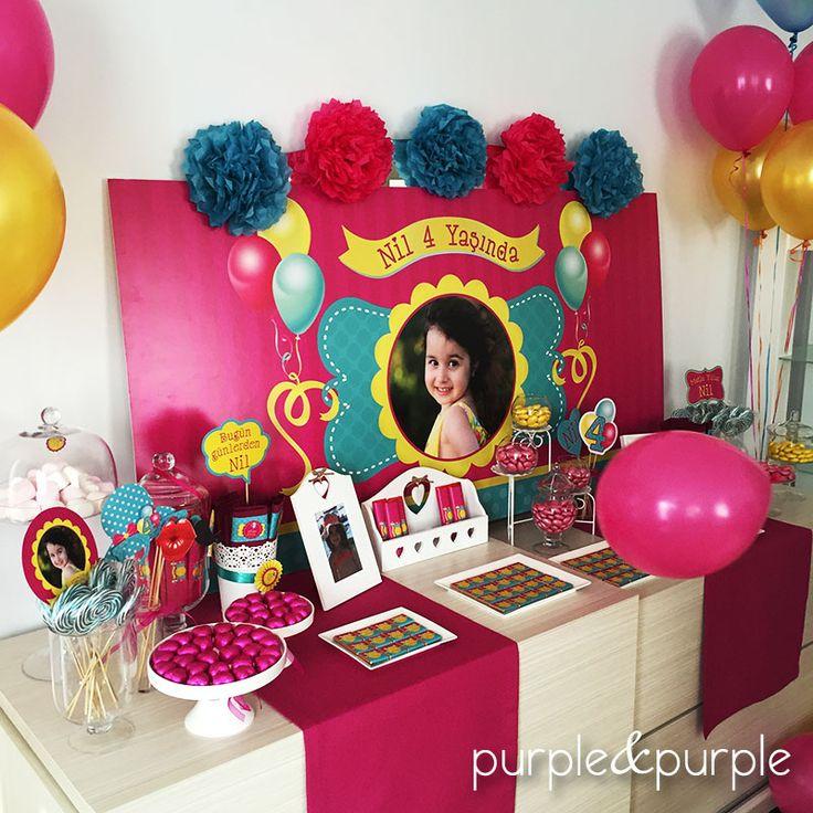 Şeker Büfesi Arka Fon | Doğum Günü Posteri | Fuşya Turkuaz ve Sarı Doğum Günü | 4 yaş doğum günü | Parti Fikirleri