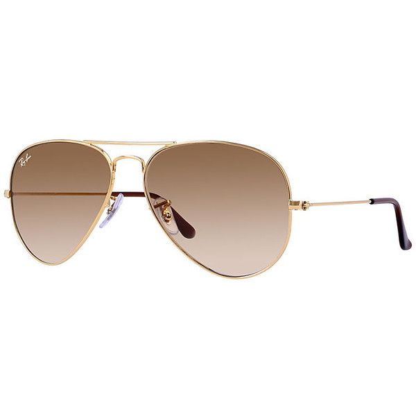 best selling ray ban aviators  ray ban \aviator large metal\ light brown gradient aviators with gold rims. barely ever used and in excellent condition ? (selling with case included!)