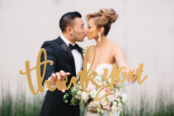 Thank you sign wedding photo props are perfect for sending personalized thank you cards after your wedding. This fun wedding thank you sign will