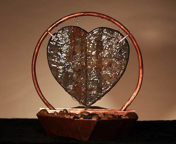 Heart Natural Slate And Copper Tabletop Fountain