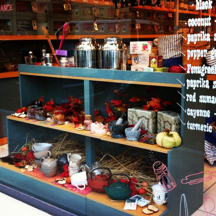 Window display Fall 2013 at Caravel spice shop. Location Chania Crete Greece.