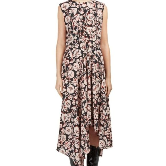 d120d81bc Kenzo Asymmetric dress in Blush Black Size 36 KENZO Floral Silk ...