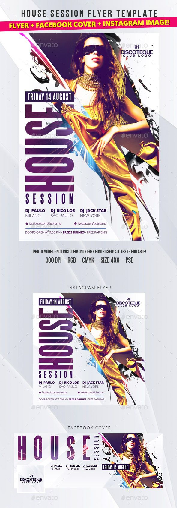 Club Flyer. Professional club party flyer template. #flyer #design #printDesign #party #club #print #deep #dj #house #NightClub