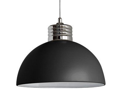Suspension coupole en métal finition chromé diamètre 30cm hauteur 20cm Charlie Noir