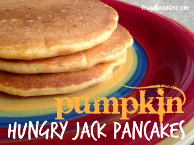 I had some extra pumpkin in my fridge this fall and so I had the thought, why not add some pumpkin to my Hungry Jack pancake mix? After a little tweaking . . . I found the perfect result!