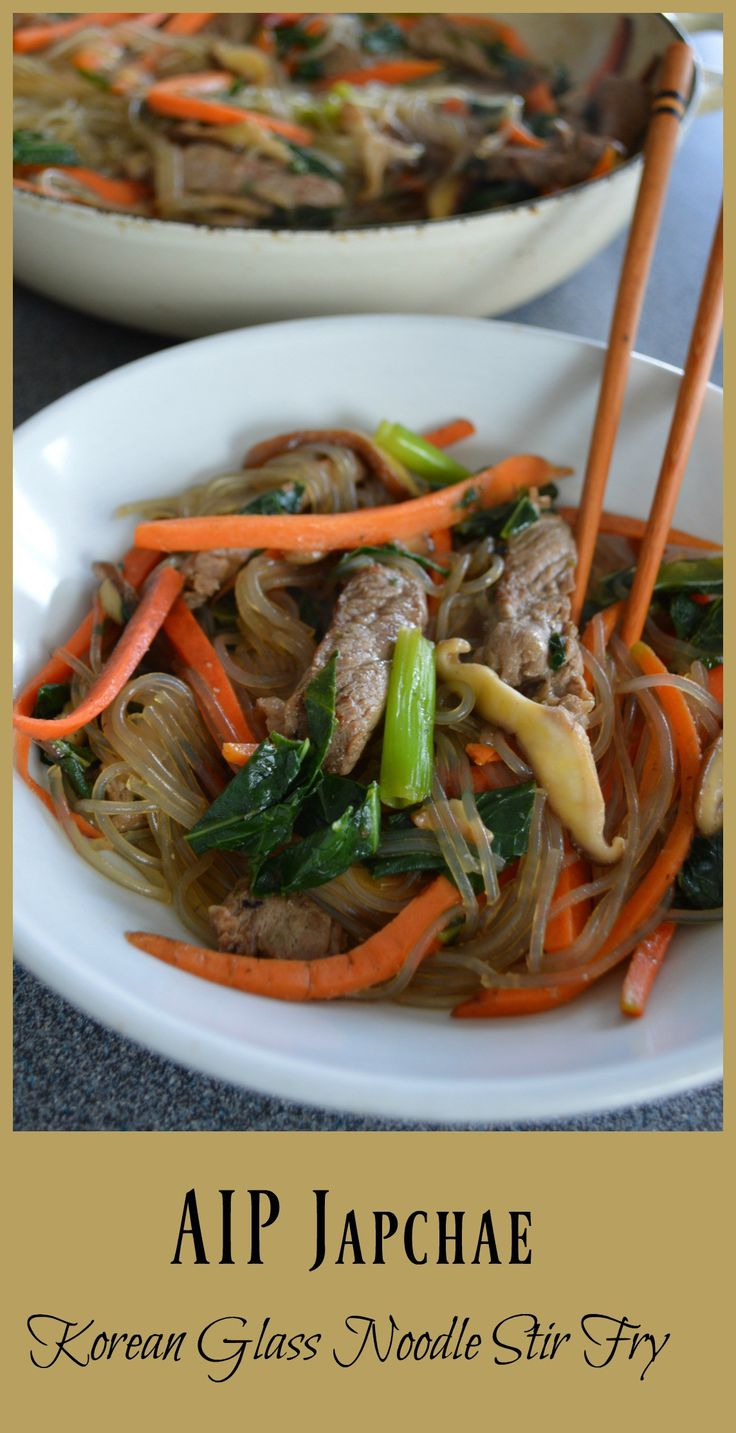 """Though we associate this Korean dish with its signature sweet potato starch glass noodles, the name japchae actually translates as """"mixed vegetables,"""" which makes it all the more perfect for healing diets like the Paleo autoimmune protocol (AIP)! I'd been playing around with the flavors for this elimination phase compliant version of the dish for …"""