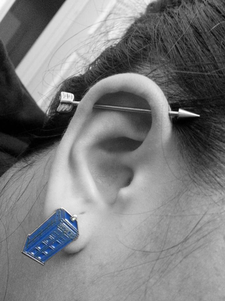 Arrow Industrial Bar and Tardis Earrings <3