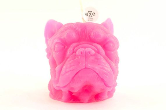 French Bulldog Scented Candle Pink / cranberry+lavender+white peach