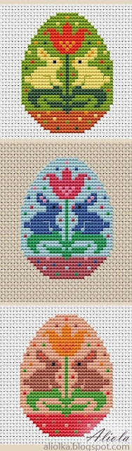 Easter egg bunny rabbit with tulip flower cross stitch charts for 3 color variations