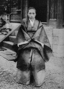Shinzuko Maresuke, wife of Nogi, on the day of her suicide. Her only two children, sons had been killed int he Russo-Japanese war. Her husband suicided on the day of the Emperor Meiji's funeral,a nd she did too, after him. She died bravely, even more so as she did not believe in an afterlife, inferred from her last poem.