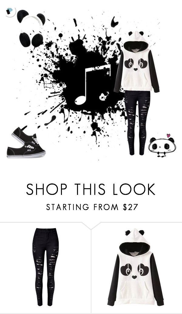 Emo panda :3 by screaming-soul on Polyvore featuring Vans and Panda