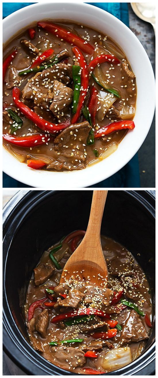 Slightly sweet and spicy Slow Cooker Sesame Beef from Creme de la Crumb cooks in a few hours in the crockpot, and this sounds delicious for a family meal. [Featured on Slow Cooker or Pressure Cooker at SlowCookerFromScratch.com]