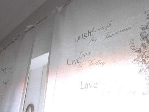 ShabbY 1x Vorhang Gardine *LAUGH LIVE LOVE* Bänder von The White Suite auf DaWanda.com