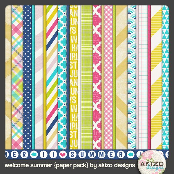Free Welcome Summer Papers from Akizo Designs