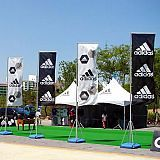 Giant flags at Adidas field event