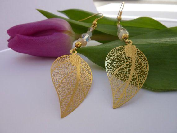 Gold Leaf Dangle Earrings Long Earrings by ShazzlersJewellery #Dorsetteam